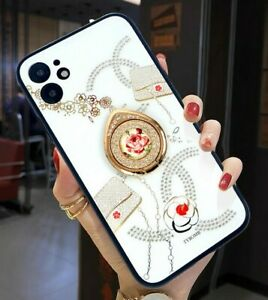 MOBILE PHONE CASE IPHONE 7/8/11/12/PRO/XS WHITE/SILVER/GOLD FLOWER DIAMOND PC