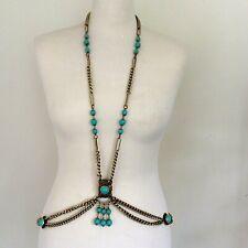 Vintage 1960s Body Chain Jewellery Go Go Eloxyl Turquoise Necklace Belt Goldtone