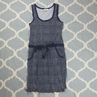 Ann Taylor LOFT Dress sleeveless casual knee length womens blue striped Sz Small
