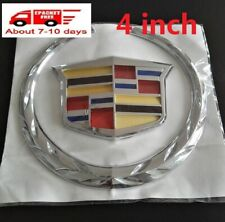 "4"" Silver Chrome Fit For Cadillac Rear Grille Emblem Hood Badge Logo Ornament"