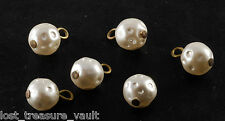 Vintage Lot of 6 Dimpled Faux Pearl Plastic Dangles Jewelry Making Findings
