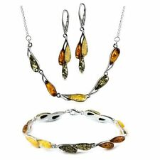 Multicolor Amber Sterling Silver Jewelry Set