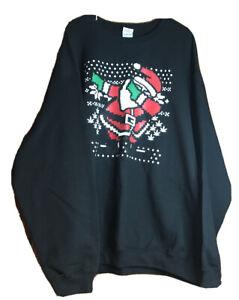 Gildan Heavy Blend Black Dancing Santa Claus Sweatshirt Long Sleeve Size 4XL