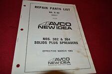 New Idea 382 384 Manure Spreader Parts Book Manual BVPA