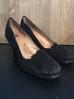 Sofft Comfort 9 N Heels Suede/Leather Pumps Shoes Scalloped Trim  Black X