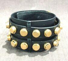 Authentic Saint Laurent  Studded Leather Wrap Unisex Bracelet