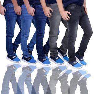 Herren Jeans Slim Fit Style Blau Hose Regular Skinny Jeanshose Stretch Biker DE