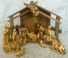 Vintage Hand Painted Nativity Wood Manger Creche Made in Japan 12 Pieces