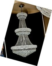 B&S LIGHTING 1006HC30X50 INCH CHROME GENUINE CRYSTAL CHANDELIER  FREE SHIPPING