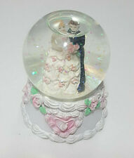 Wedding Couple Snow Globe With Flowers And Hearts Base
