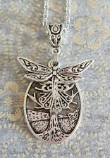 DRAGONFLY CHARM AND TREE OF LIFE PENDANT ON A 50CM SILVER PLATED NECKLACE