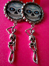 Day Of The Dead Sugar Skull With Skeleton Dangle Charm Earrings #11