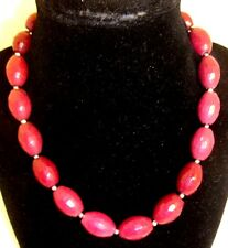 """White House Black Market """"DYED JADE"""" Signed NECKLACE 15-17"""" Maroon or Red Beads"""