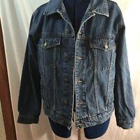 Men's Wrangler Hero Denim Trucker Blue Jean Jacket Coat Button-up Size L Cotton