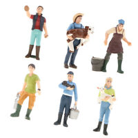 6 PCS PVC People Figurines Ranch Farmer Model Playset Kids Toy Collectibles