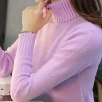 Inverno caldo donne collo alto maglione lavorato a maglia solido pullover camici