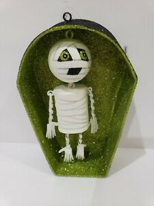 HALLOWEEN Pier 1 Glitter Dangling Mummy in Coffin Ornament