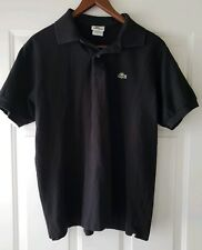 Lacoste Mens Short Sleeve Black Polo Shirt Size 5 Croc Logo medium M