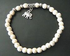 Bracelet Turquoise Blanc Naturel Perles 6mm Pendant Eléphant Yoga Zen Tibet #B01