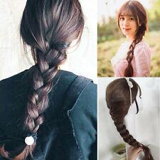 Women Braid Crochet Ponytail Full Wig Beauty Black Brown Long Straight Hair Wig