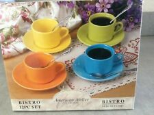 NEW RETRO /  4 EXPRESSO CUPS * 4 SAUCERS * 4 DEMITASSE SPOONS