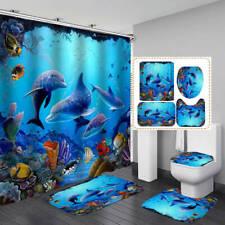 Cartoon Sea Dolphin Shower Curtain Bath Mat Toilet Cover Rug Bathroom Decor