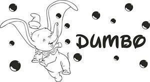 DUMBO Wall Stickers DISNEY Font Wash Name Personalisation Bath Bedroom Decal