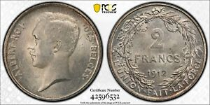 PCGS MS-65 BELGIUM SILVER 2 FRANCS 1912 (FRENCH) HIGHEST GRADED! TOP POP: 1/0