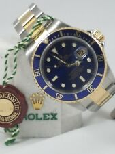ROLEX SUBMARINER 16613 Z SERIAL SOLID END LINKS GOLD CLASP NO HOLES CASE!