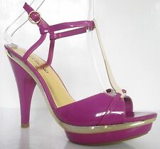 RIVER ISLAND SIZE 6 WOMENS GOLD PURPLE STRAPPY ANKLE STRAPS T BAR SANDALS SHOES