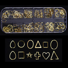 12 Grid Nail Art Star Heart Round Gold Metal rivet Studs 3D Charm Decoration DIY