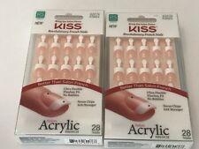 (2) Kiss Salon Acrylic French Nails Real Short Length Nail Kit HALO EFFECT KSA01