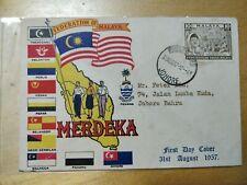 All states Flag 1957 Merdeka Malaya Tunku Abdul Rahman stamp FDC