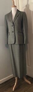Pendleton Women's Houndstooth 100% Wool Skirt Blazer Suit Size 6 GreenBlueBrown