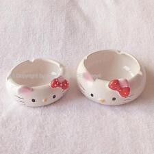 RED Hello Kitty Ceramic teabag holder tidy ashtray cat ash tray cigarette smoke