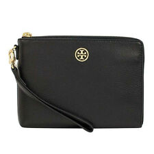 NEW Tory Burch Black Landon Large Leather Black Wristlet  $185