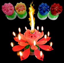 Creative Birthday Candles Music Lotus Flower Blossom Magic Cake Topper Cand Fine