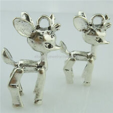 14972 2x Alloy Antique Silver Vintage Animal 3D Deer Baby Deer Fawn Pendant Xmas