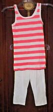 Girl's M Old Navy White Capri Leggings & 7/8 Striped Cherokee Tank Top Outfit