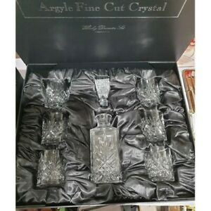 A boxed Argyle Cut Glass Crystal Whiskey Decanter and 6 Glasses Set