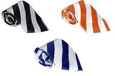 100% Silk Tie Men's Necktie - White With Black, Blue or Orange Stripes