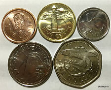 Barbados  Set 5 Coins, 1, 5, 10, 25 Cents &1 Dollar  UNC COIN CARIBBEAN CURRENCY