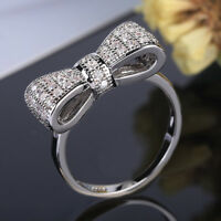 Women Fashion White Sapphire 925 Silver Bow Ring Wedding Engagement Jewelry Gift