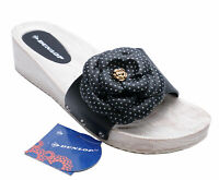WOMENS BLACK DUNLOP SLIP-ON PEEP-TOE MULES WEDGE SLIDER SANDALS SHOES UK 3-8