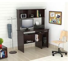 Small Computer Desk With Hutch Brown Office Bookshelf Home Storage Pull Out Tray