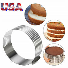 "Round Cake Layer Slicer Cutter Ring Mold Adjustable 6.30""~7.87"" Stainless Steel"
