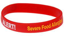 Egg and Nut Food Allergy Red Silicone Wristband Medical Alert Bracelet Mediband