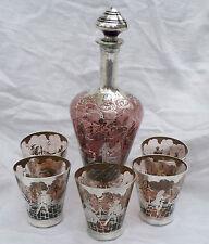 Venetian Glass Silver Overlay Decanter Bottle Tumblers Victorian Scene