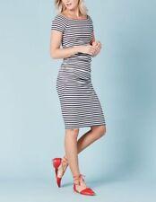 BODEN  BNIB  Off Shoulder Ruched Dress - Navy Stripe - UK 14 Petite