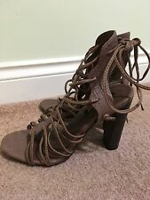 River Island Brown Leather Strappy Tie Up Ankle High Heel Shoes Size 6 Eu 39